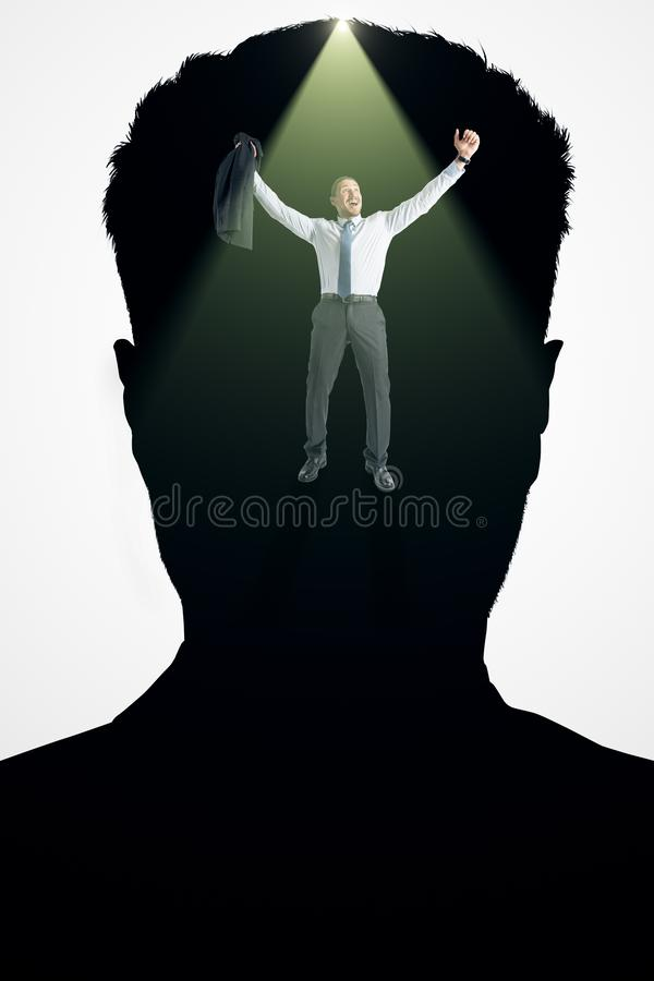 Abstract happy businessman. Abstract portrait silhouette and happy businessman on white background. Thoughts concept. Double exposure stock images