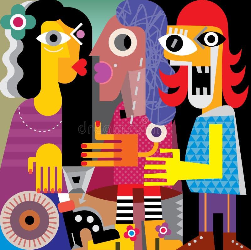 Abstract portrait of three women royalty free illustration