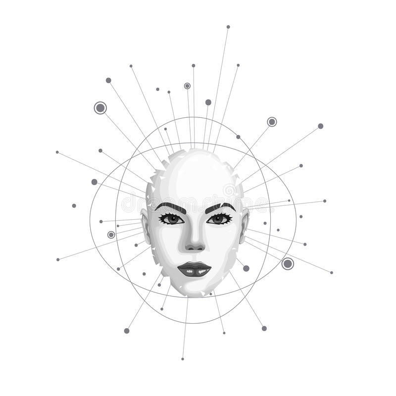 Abstract portrait of a woman. Abstract female face shatters into pieces. Vector illustration royalty free illustration