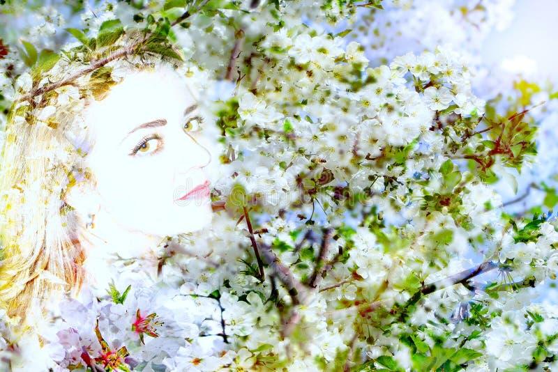 Abstract portret van de lente stock afbeelding