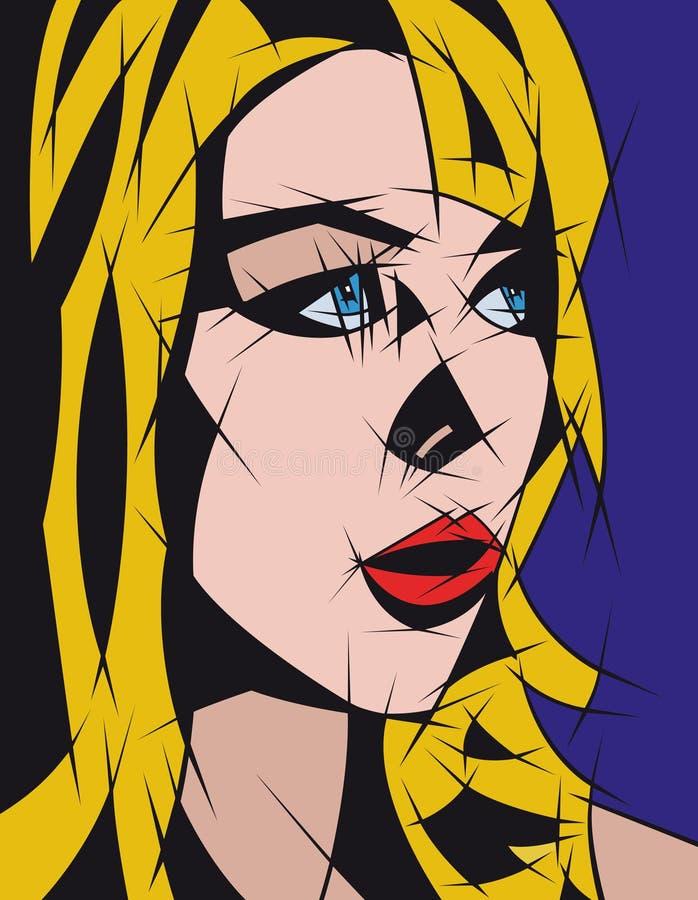 Abstract portret van een meisje met blond haar vector illustratie