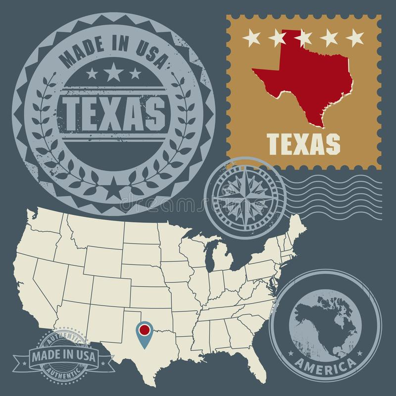 Abstract post stamps set with name and map of Texas, USA. Vector illustration royalty free illustration