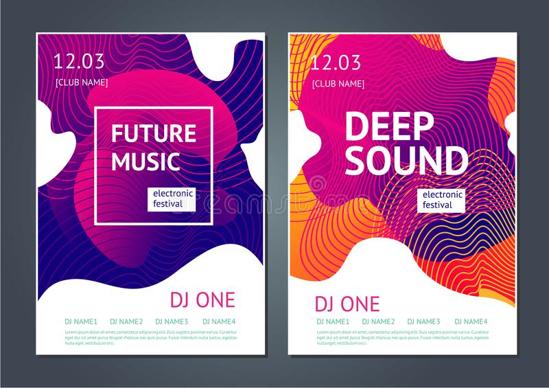 Deep sound. Abstract poster for electronic music festival. Guilloche line and dynamic fluid background. stock illustration