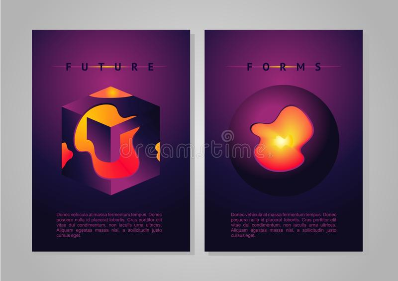 Abstract poster. Future forms vector cover with vibrant gradient and plasma. royalty free illustration