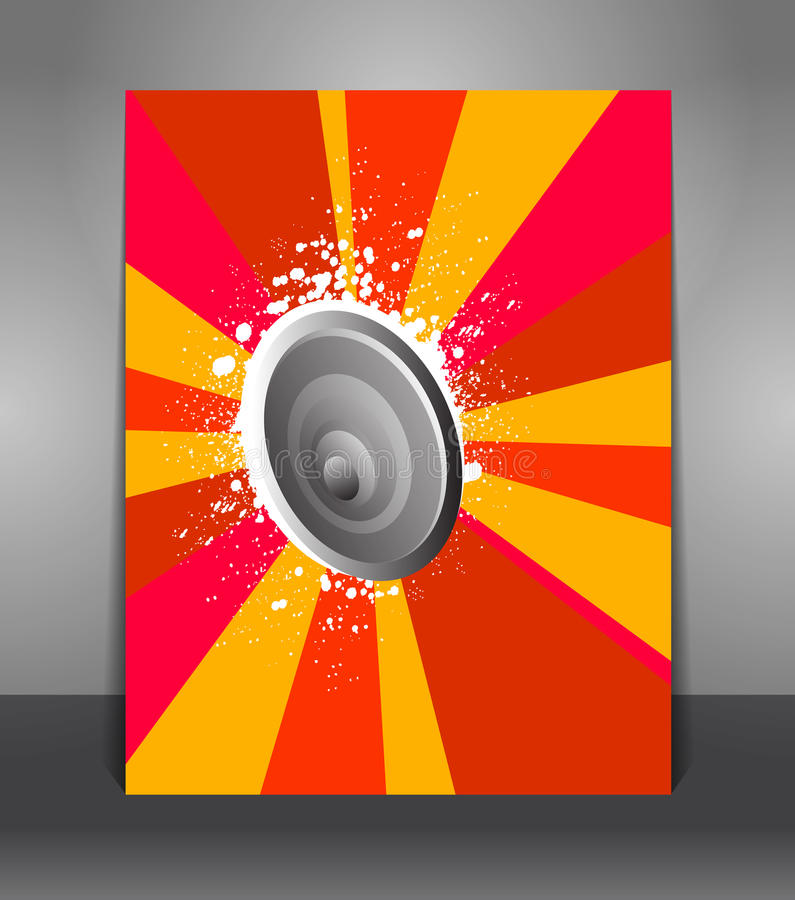 Abstract poster with rays and speakers vector illustration