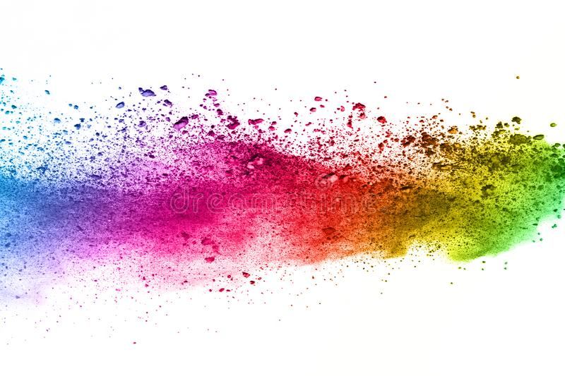 Colorful powder explosion on white background. royalty free stock photography