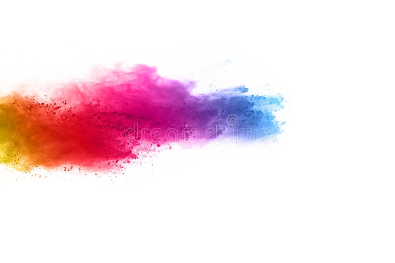 Abstract powder splatted background. Colorful powder explosion on white background. royalty free stock image