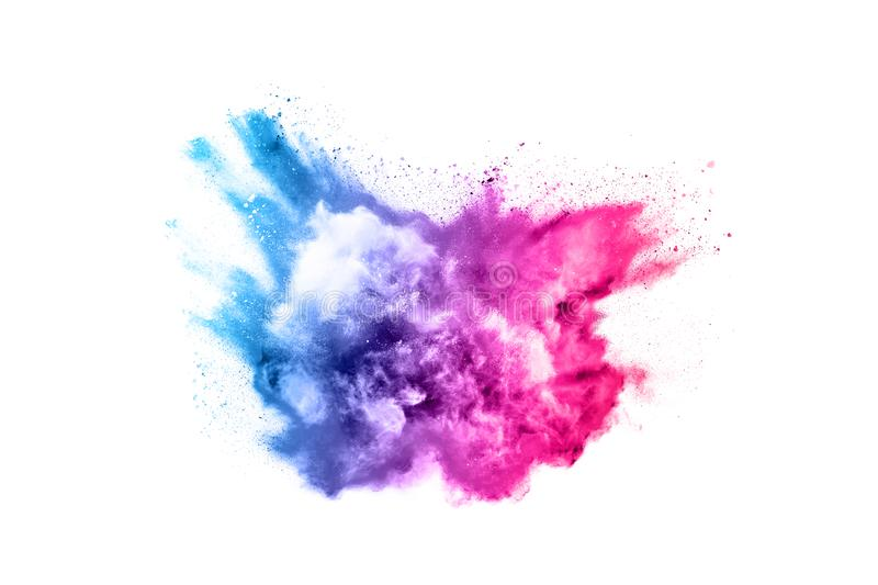Colorful powder explosion on white background. Abstract powder splatted background. Colorful powder explosion on white background. Colored cloud. Colorful dust royalty free stock images