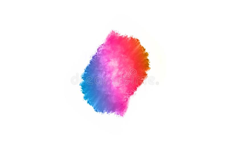 Colorful powder explosion on white background. Abstract powder splatted background. Colorful powder explosion on white background. Colored cloud. Colorful dust stock photo