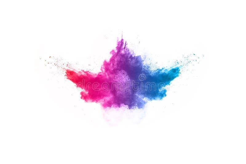 Colorful powder explosion on white background. Abstract powder splatted background. Colorful powder explosion on white background. Colored cloud. Colorful dust stock image