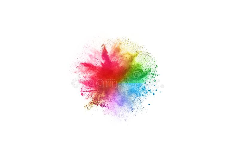Colorful powder explosion on white background. Abstract powder splatted background. Colorful powder explosion on white background. Colored cloud. Colorful dust stock photos