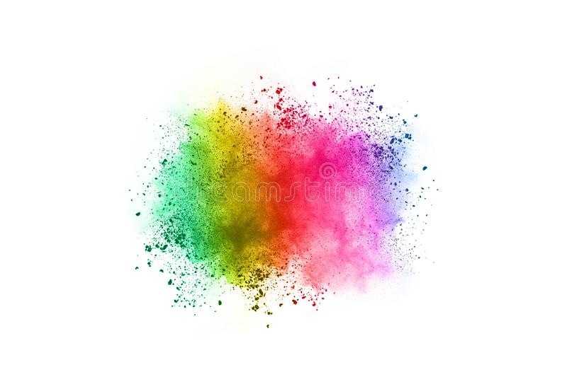 Colorful powder explosion on white background. royalty free stock photos