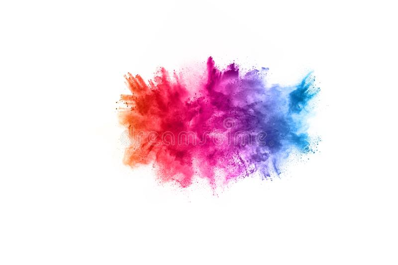 Colorful powder explosion on white background. stock images