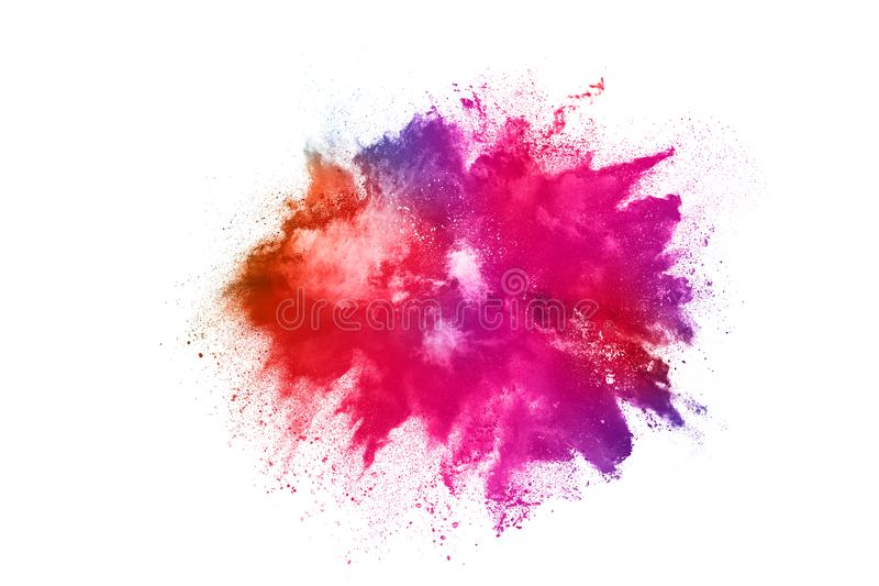Colorful powder explosion on white background. Abstract powder splatted background. Colorful powder explosion on white background. Colored cloud. Colorful dust royalty free stock image