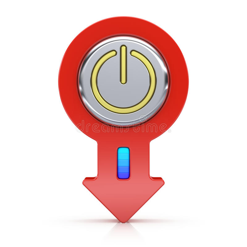 Abstract power button with arrow. On white background stock illustration