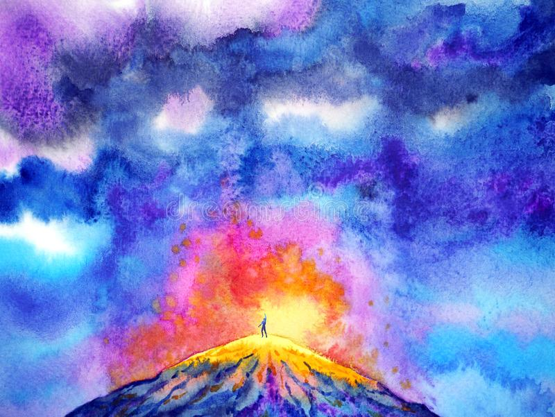 Abstract power human volcano spiritual watercolor painting illustration design. Abstract mind power human volcano spiritual watercolor painting illustration stock image