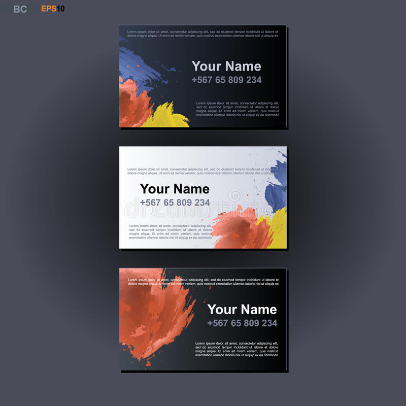 Abstract print business card design with colored strokes over dark download abstract print business card design with colored strokes over dark and white background stock vector reheart Image collections