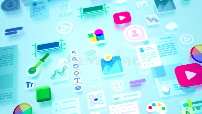 Abstract print of colorful interface constituents. A cheery 3d illustration of colorful interface elements including such icons as personal data, number, enter vector illustration