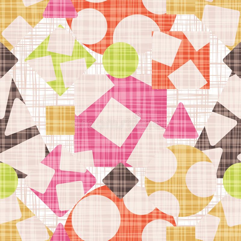 Abstract print fabric geometric shapes. stock illustration