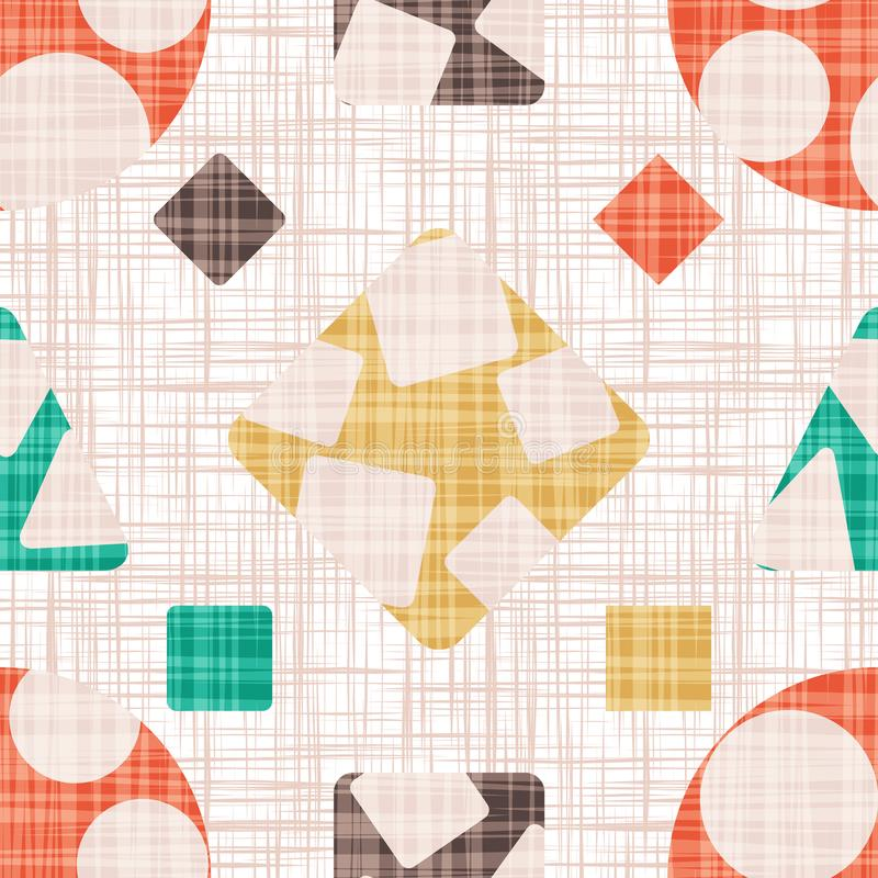 Abstract print textile with geometric shapes. stock illustration