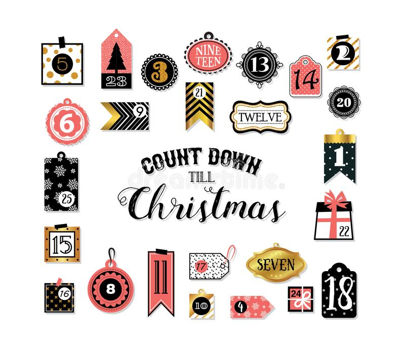 Abstract printable tags collection for Christmas, New Year. Advent calendar. Vector illustration. Merry Christmas and. Abstract printable tags collection for vector illustration