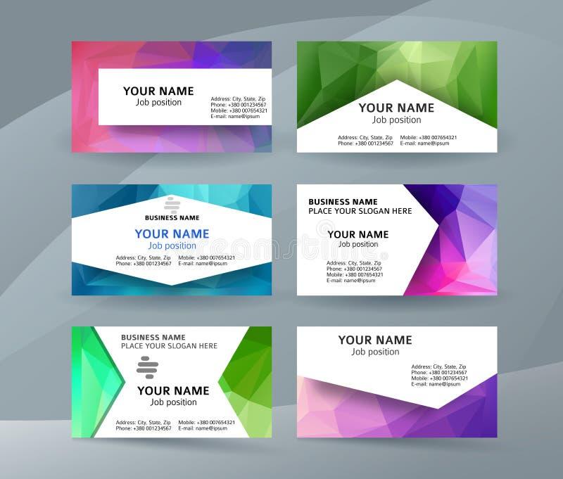 Business Card Background Blue Triangle Mosaic Horizontal Templat ...