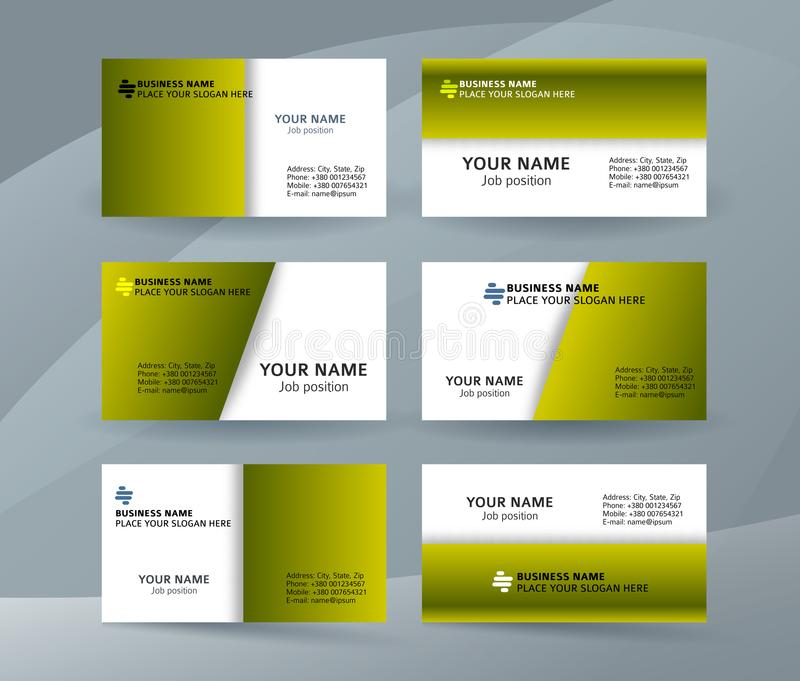 Set of simple pattern business card layout sided green02 vector illustration
