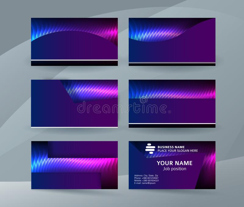Business card background blue magenta neon effect08 royalty free illustration