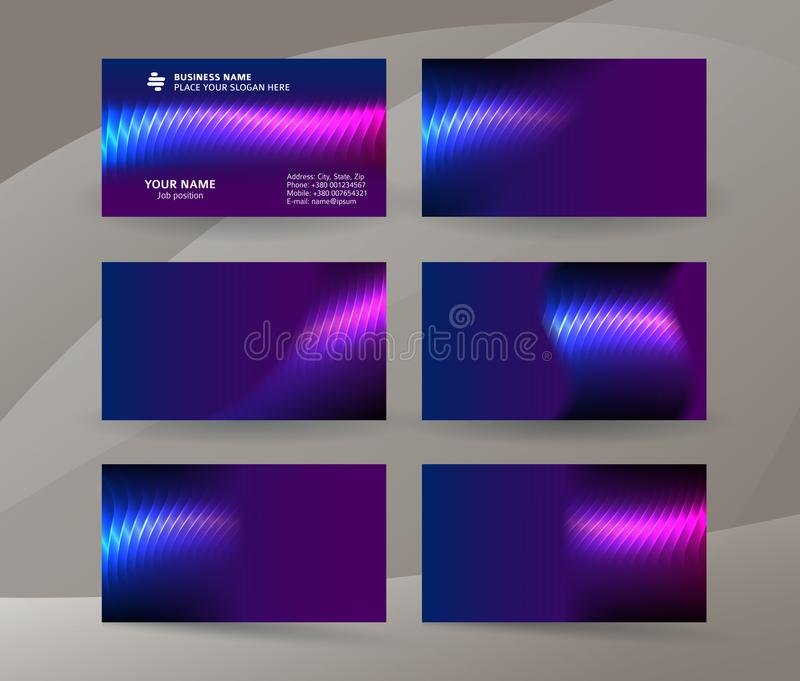 Business card background blue magenta neon effect09 royalty free illustration