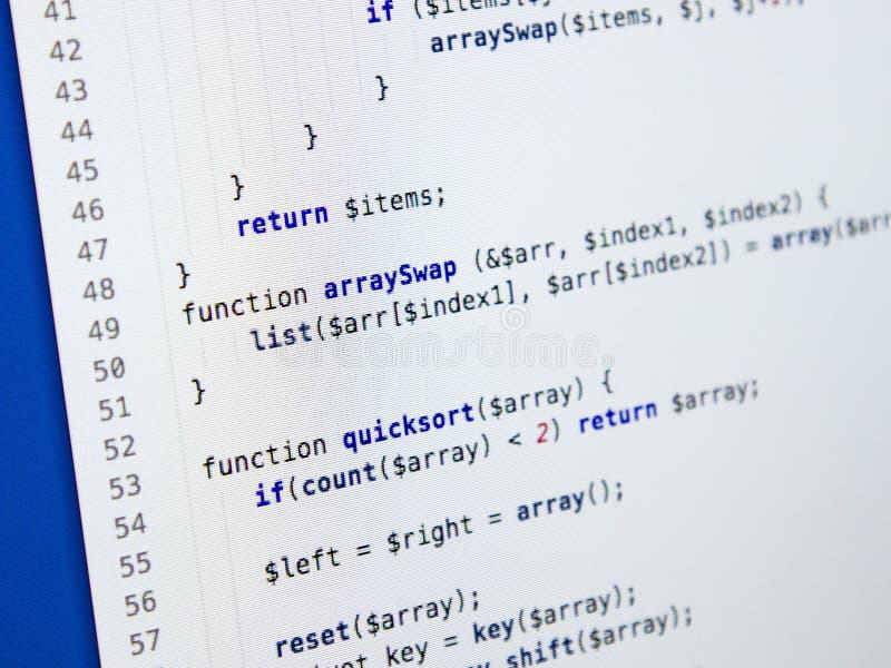 Abstract programming code. Software developer programming code. Abstract computer script code stock photo