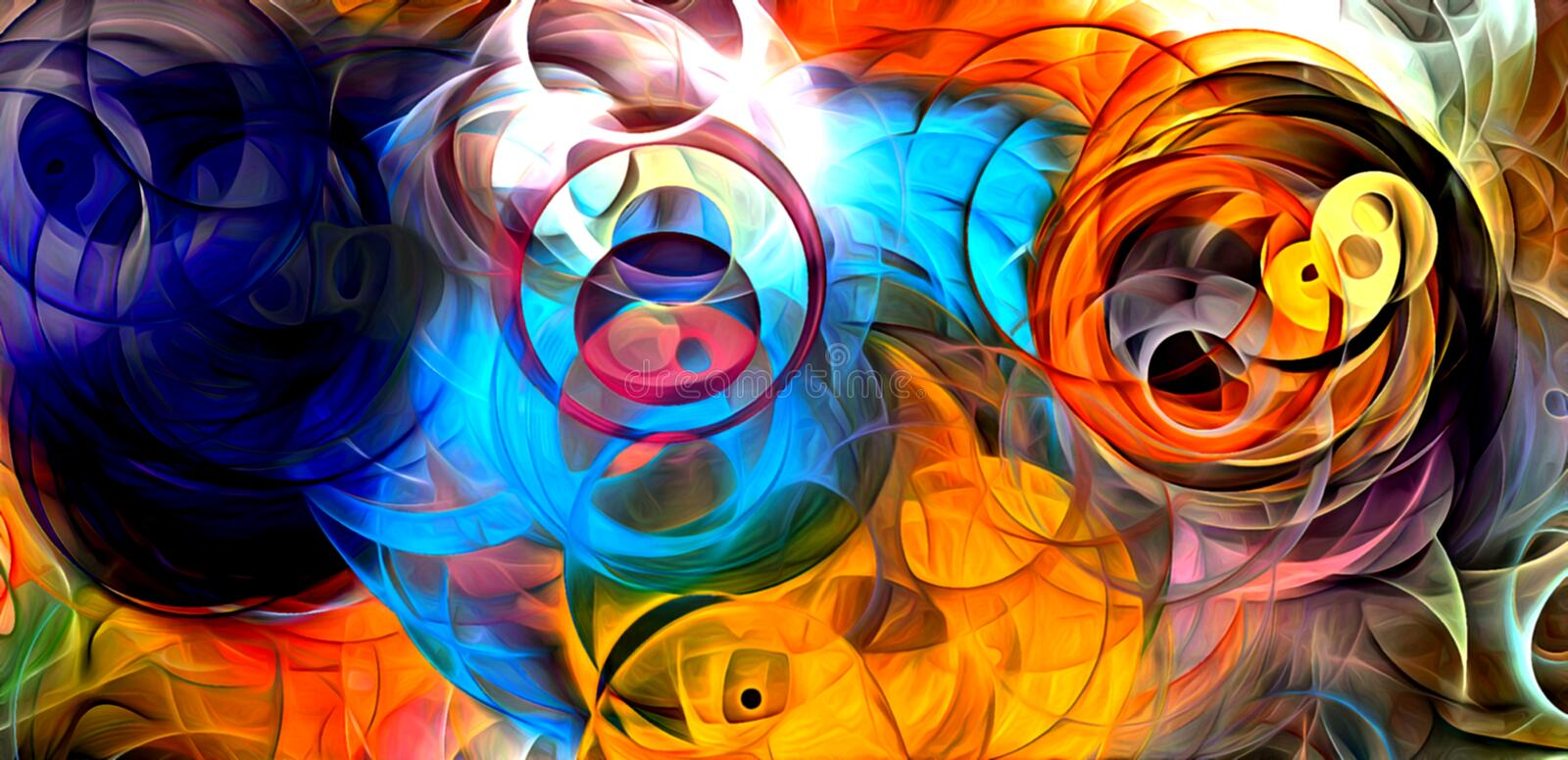 Abstract psychedelic background colored fractal hotspots arranged circles and spirals of different sizes Digital graphic design royalty free illustration