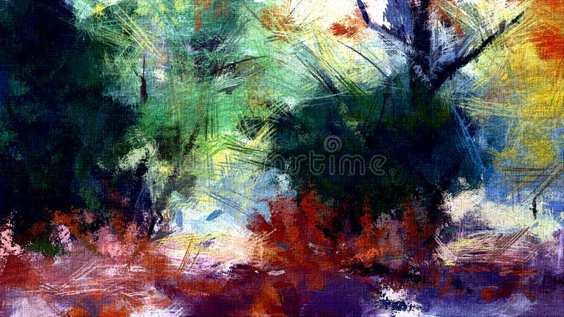 Abstract psychedelic grunge background graphic stylization on a textured canvas of chaotic blurry strokes and strokes of paint.  stock photos