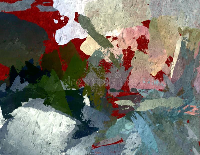 Abstract psychedelic grunge background graphic stylization on a textured canvas of chaotic blurry strokes and strokes of paint.  royalty free stock photo