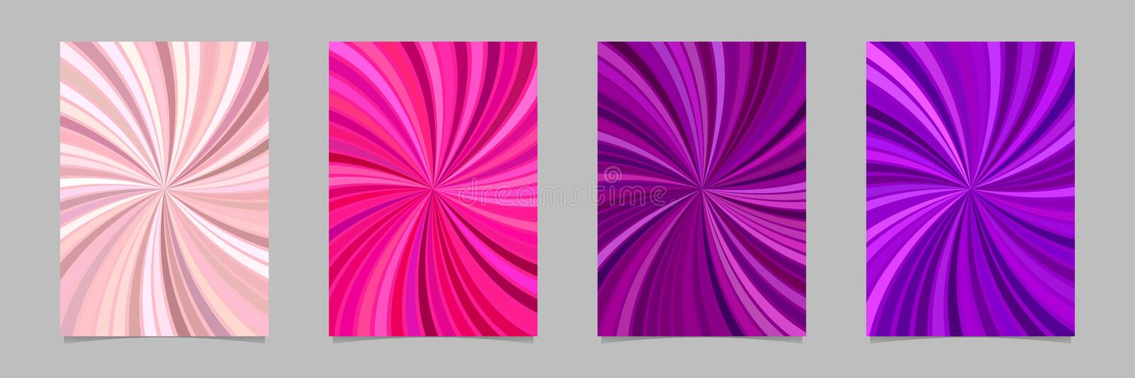 Abstract psychedelic spiral ray burst stripe brochure background template set. Vector stationery graphics stock illustration