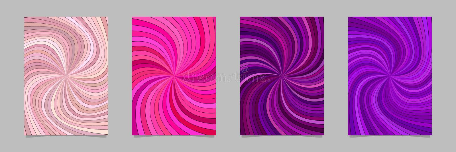 Abstract psychedelic striped spiral pattern brochure background set. Vector page template graphics vector illustration