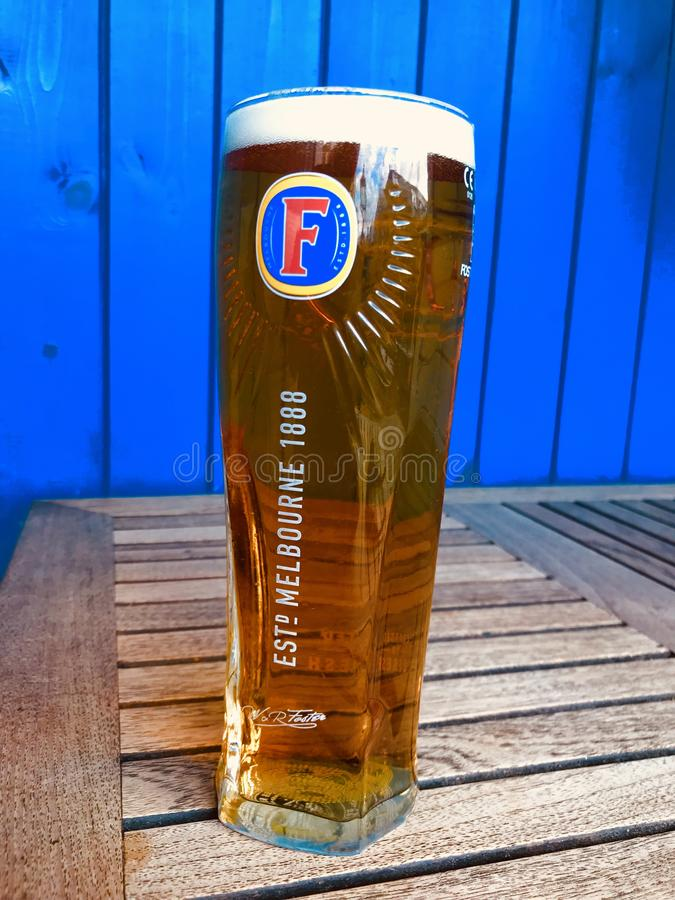 A pint of Fosters royalty free stock photo