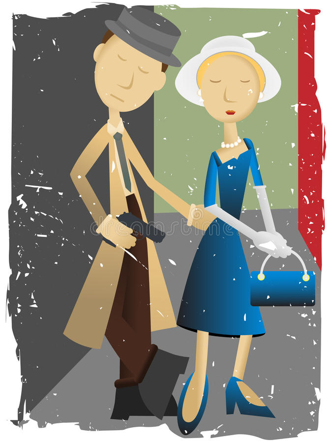 Abstract Pulp Fiction Couple accented by grunge royalty free illustration
