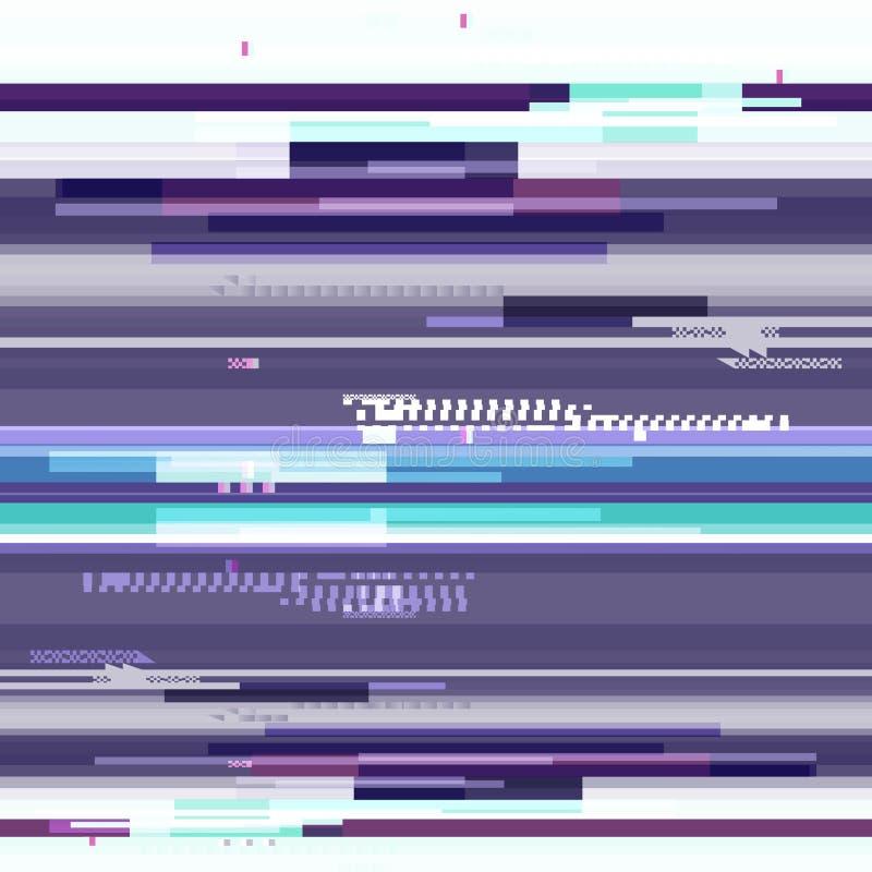Abstract purper behang in de stijl van een glitch pixel Purper geometrisch patroonlawaai Grunge, moderne achtergrond met stock illustratie