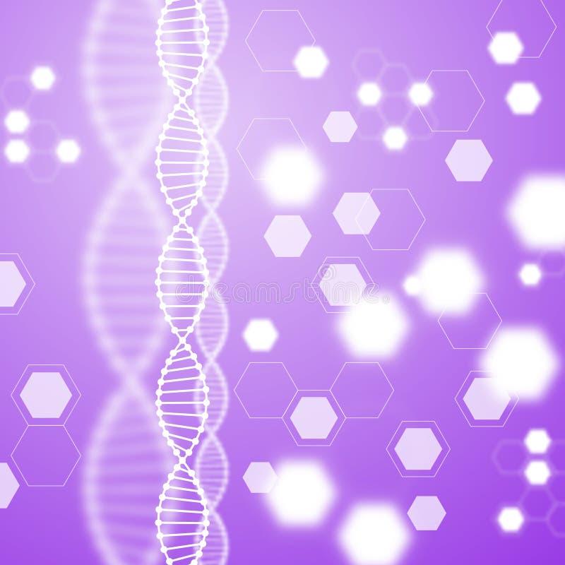 Abstract purple background, DNA molecule. stock illustration