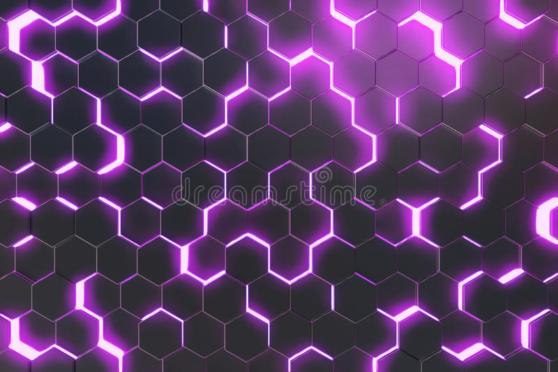 Abstract purple background of futuristic surface with hexagons. 3d rendering vector illustration