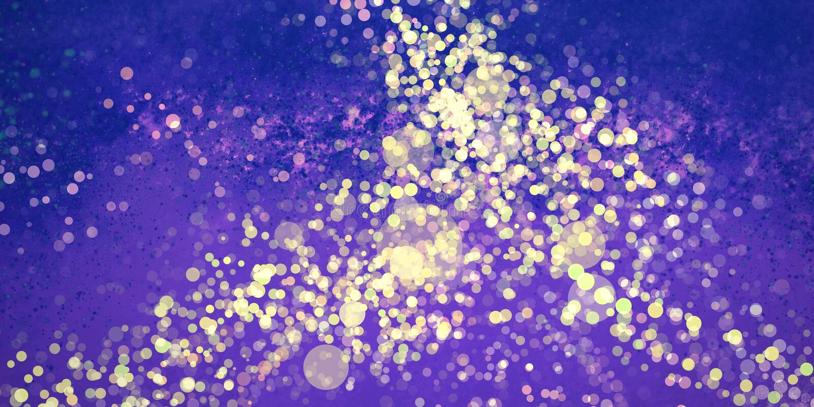 Abstract purple blue and yellow gold background design with paint spatter and bokeh lights texture. Elegant background, magical dream concept royalty free illustration