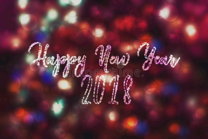 Abstract purple bokeh New year 2018 background. Modern simple flat sign. Trendy decoration symbol for website. Design stock images