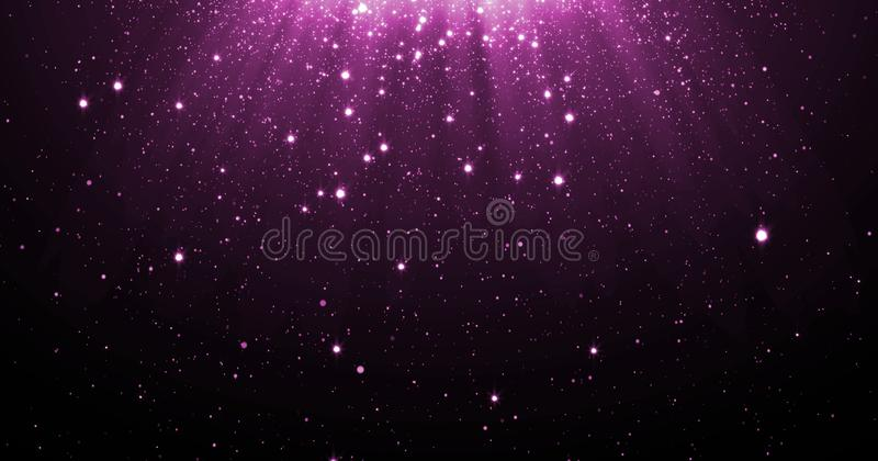 Abstract purple glitter particles background with shining stars falling down and light flare or glare overlay effect above for lux. Ury premium product design vector illustration