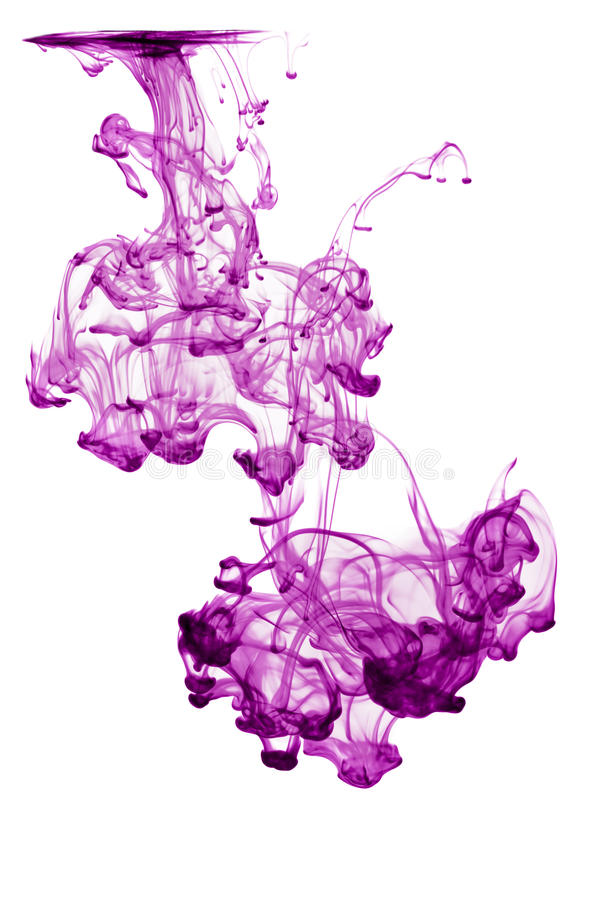 Abstract purple ink in water isolated. Over white stock photography