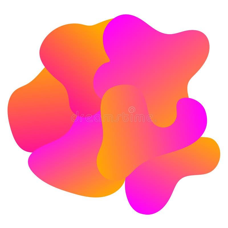 Abstract purple orange fluid design background logo. Abstract purple orange shape fluid blobs art design background logo, design element stock illustration