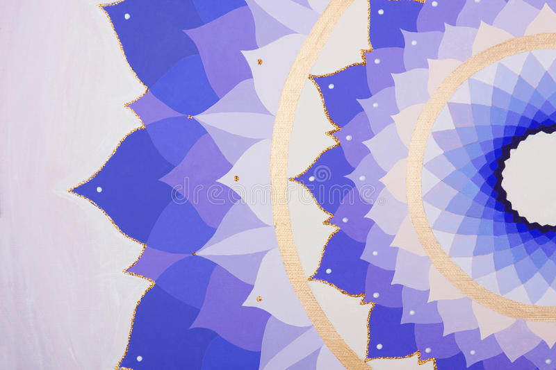 Abstract purple painted picture mandala of stock image