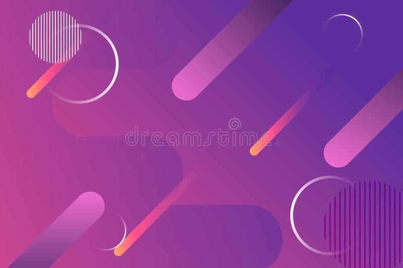 Abstract Purple pink gradient fluid wave background with meteor fall and circle vector illustration