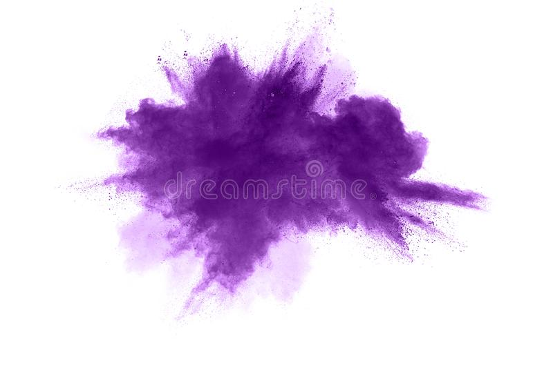 Abstract purple powder explosion on white background. stock photo