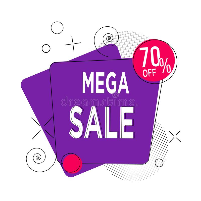 Abstract purple and red round 70 % discount. Sale banner template design, Big sale special offer. 70 percent discount. Special vector illustration