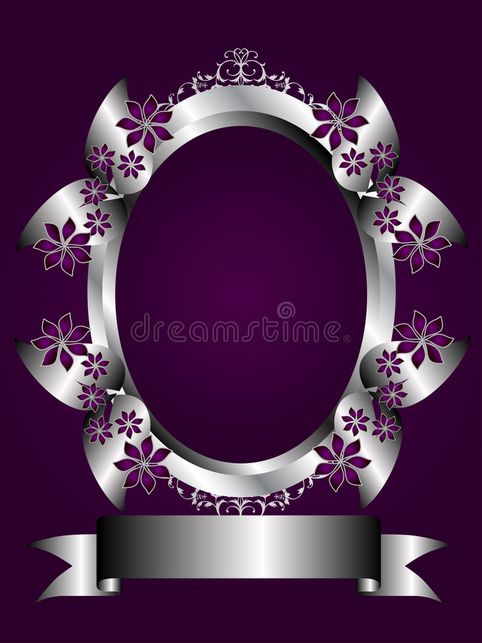Abstract Purple and Silver Floral Frame vector illustration